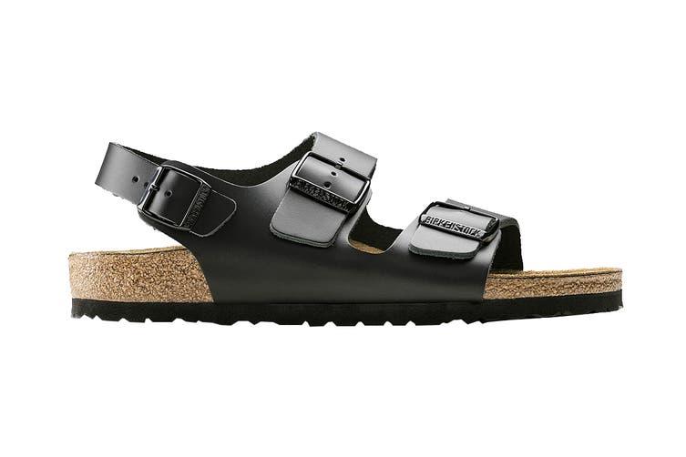 Birkenstock Unisex Milano Smooth Leather Regular Fit Sandal (Black, Size 39 EU)