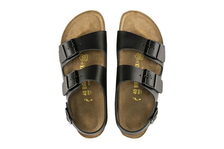 Birkenstock Unisex Milano Smooth Leather Regular Fit Sandal (Black, Size 41 EU)
