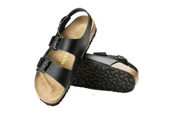 Birkenstock Unisex Milano Smooth Leather Regular Fit Sandal (Black, Size 43 EU)
