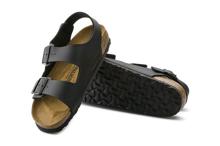 Birkenstock Unisex Milano Birko-Flor Sandal (Black, Size 41 EU)