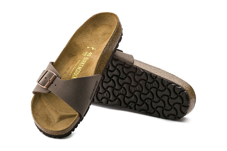 Birkenstock Unisex Madrid Birkibuc Narrow-Fit Sandal (Mocha, Size 36 EU)