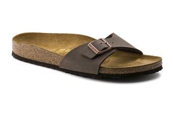 Birkenstock Unisex Madrid Birkibuc Narrow-Fit Sandal (Mocha, Size 40 EU)
