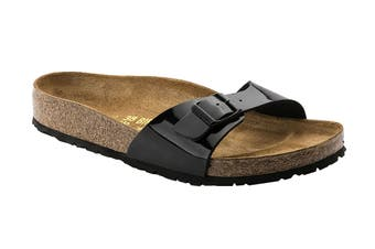 Birkenstock Madrid Birko-Flor Patent Regular Fit Sandal (Black, Size 42 EU)