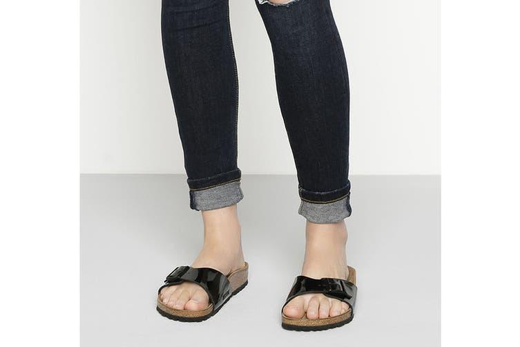 Birkenstock Madrid Birko-Flor Patent Regular Fit Sandal (Black, Size 41 EU)