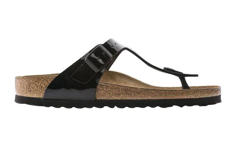 Birkenstock Unisex Gizeh Birko-Flor Patent Sandal (Black, Size 37 EU)