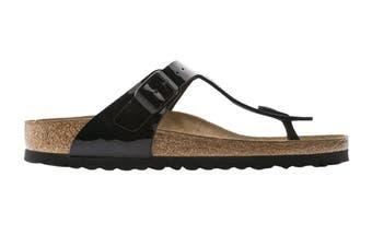 Birkenstock Unisex Gizeh Birko-Flor Patent Sandal (Black, Size 38 EU)