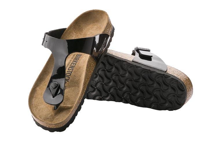 Birkenstock Unisex Gizeh Birko-Flor Patent Sandal (Black, Size 40 EU)