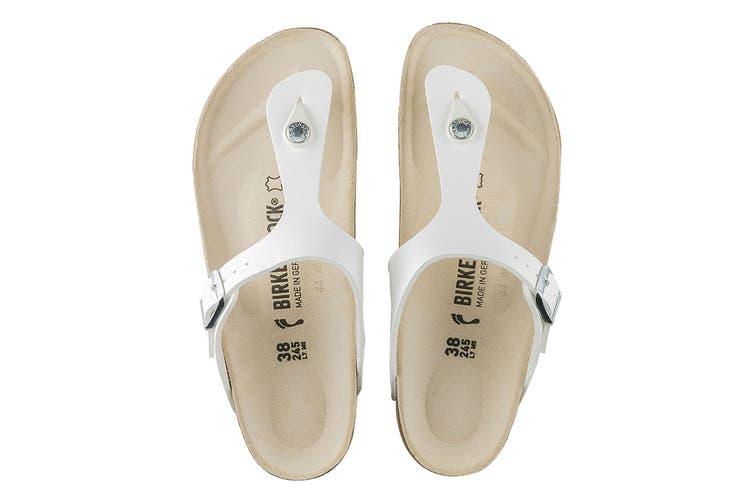 Birkenstock Women's Gizeh Birko-Flor Narrow Fit Sandal (White, Size 41 EU)