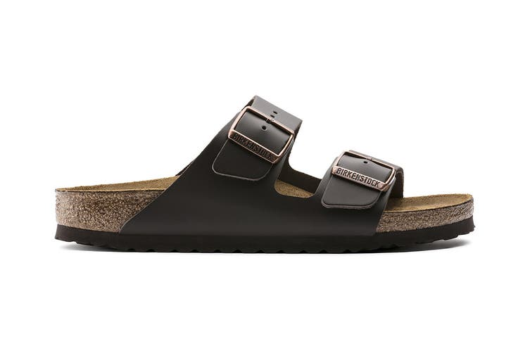 Birkenstock Arizona Natural Leather Narrow Fit Sandal (Dark Brown, Size 37 EU)