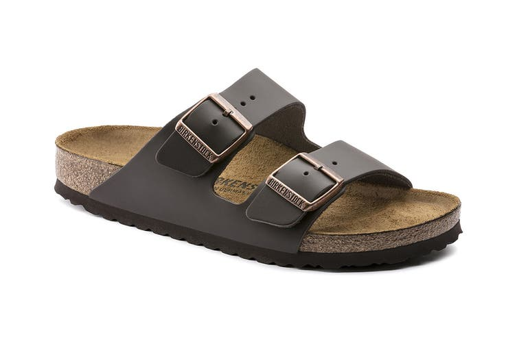 Birkenstock Arizona Natural Leather Narrow Fit Sandal (Dark Brown, Size 38 EU)
