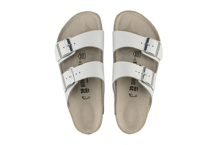 Birkenstock Unisex Arizona Natural Leather Regular Fit Sandal (White, Size 41 EU)