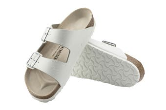 Birkenstock Unisex Arizona Natural Leather Regular Fit Sandal (White, Size 43 EU)