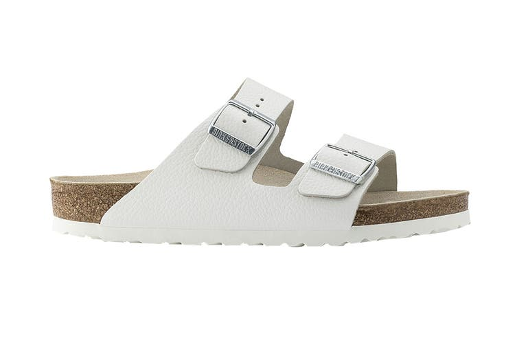 Birkenstock Unisex Arizona Natural Leather Regular Fit Sandal (White, Size 44 EU)