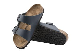 Birkenstock Unisex Arizona Smooth Leather Regular Fit Sandal (Navy, Size 43 EU)