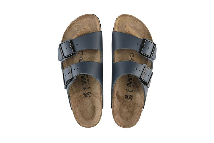 Birkenstock Unisex Arizona Leather Narrow Fit Sandal (Blue, Size 42 EU)