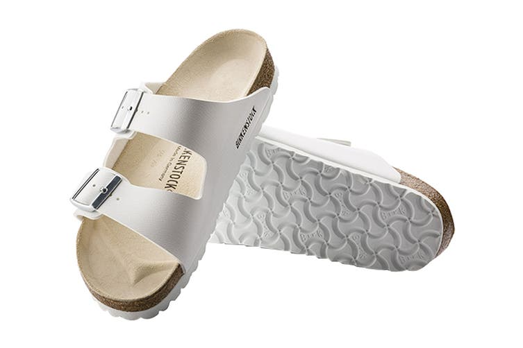 Birkenstock Unisex Arizona Birko-Flor Narrow Fit Sandal (White, Size 35 EU)