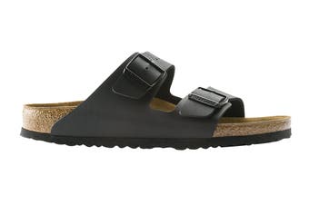Birkenstock Unisex Arizona Birko-Flor Narrow-Fit Sandal (Black, Size 38 EU)
