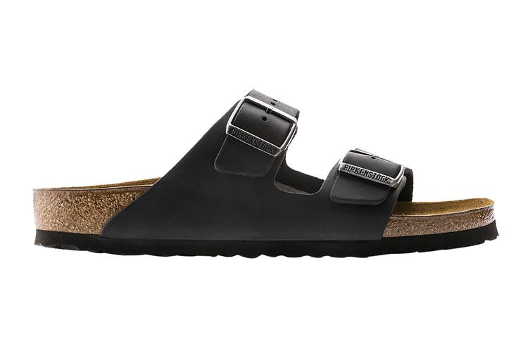 Birkenstock Unisex Arizona Oiled Leather Narrow Fit Sandal (Black, Size 39 EU)