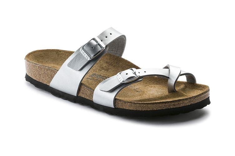 Birkenstock Women's Mayari Birko Flor Narrow Fit Sandal (Silver, Size 36 EU)