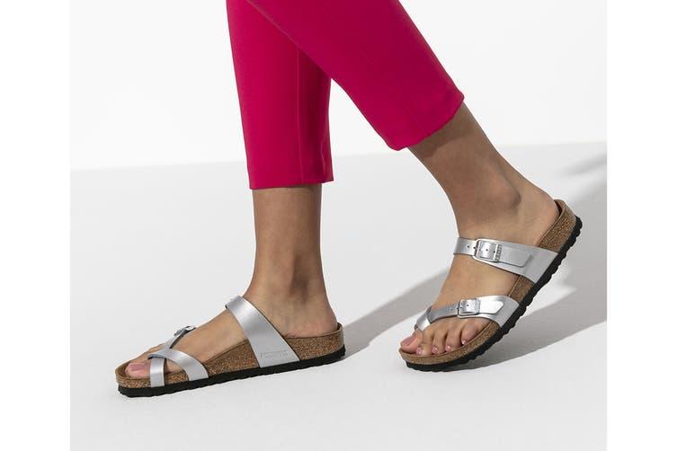 Birkenstock Women's Mayari Birko Flor Narrow Fit Sandal (Silver, Size 37 EU)