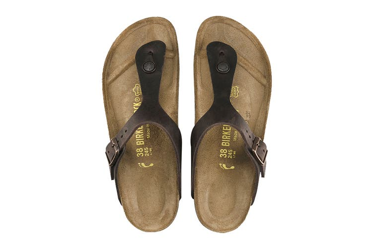 Birkenstock Unisex Gizeh Oiled Leather Thong (Habana, Size 38 EU)