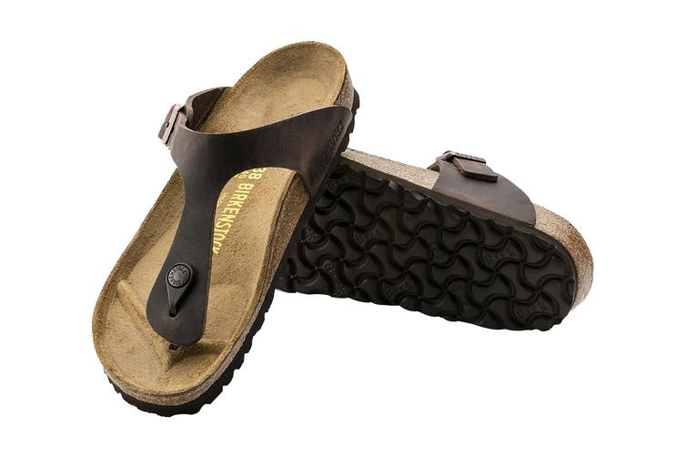 Birkenstock Unisex Gizeh Oiled Leather Thong (Habana, Size 36 EU)