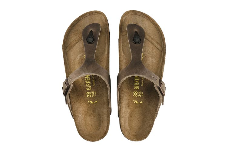 Birkenstock Gizeh Oiled Leather Regular Fit Sandal (Tobacco Brown, Size 36 EU)