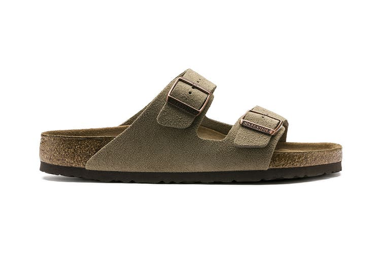 Birkenstock Arizona Suede Leather Soft Footbed Regular Fit Sandal (Taupe, Size 45 EU)