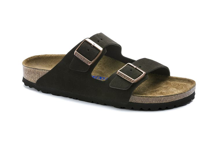 Birkenstock Arizona Suede Leather Soft Footbed Regular Fit Sandal (Mocha, Size 40 EU)