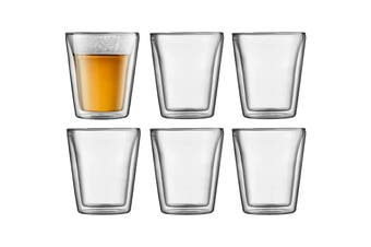 Bodum Canteen 6 Piece Glass Double Wall - Medium, 0.2 L, 6 oz (10109-10-12)