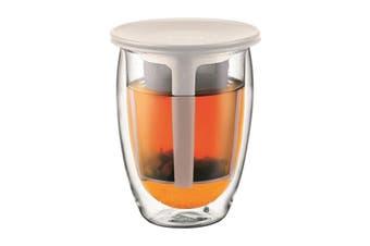 Bodum Tea For One Glass Double Wall & Tea Strainer - 0.35 L, 12 oz (K11153-913)