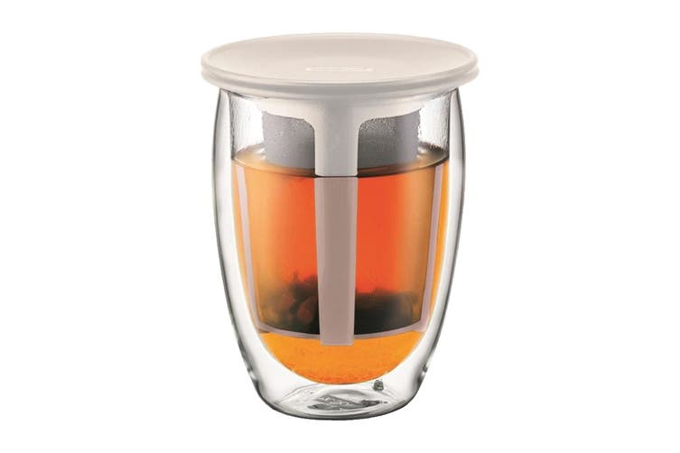Bodum Tea For One Glass Double Wall & Tea Strainer - 0.35 L, 12 oz (K11153-913)
