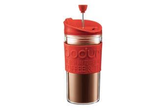 Bodum Travel Press Set Coffee Maker with Extra Lid - Red, 0.35L, 12 oz (k11102-294)