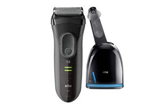 Braun Series 3 3050CC ProSkin Washable Electric Shaver with Clean/Charge Station - Black (81607201)