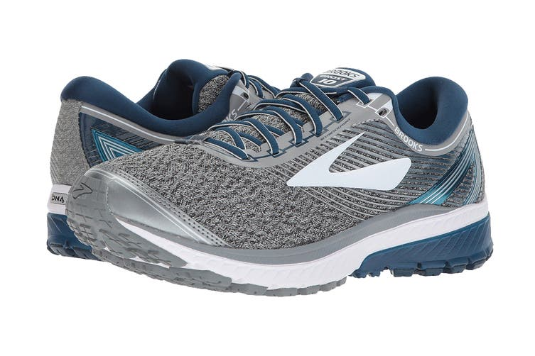 Brooks Men's Ghost 10 Running Shoe (Silver/Blue/White, Size 10 US)