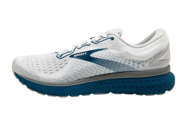 Brooks Men's Glycerin 18 Running Shoe (White/Grey/Poseidon, Size 8.5 US)