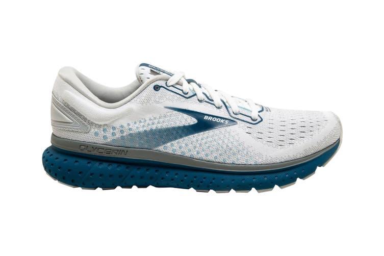 Brooks Men's Glycerin 18 Running Shoe (White/Grey/Poseidon, Size 9.5 US)