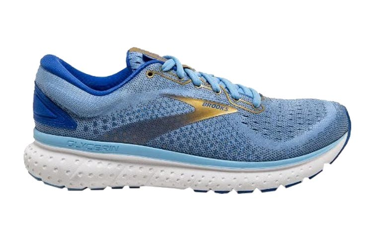 Brooks Women's Glycerin 18 Running Shoe (Cornflower/Blue/Gold, Size 9.5 US)