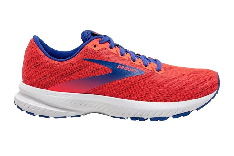 Brooks Women's Launch 7 Running Shoe (Coral/Claret/Blue, Size, 7.5)