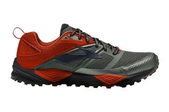 Brooks Men's Cascadia 12 Running Shoe (Green/Orange/Black, Size 12 US)