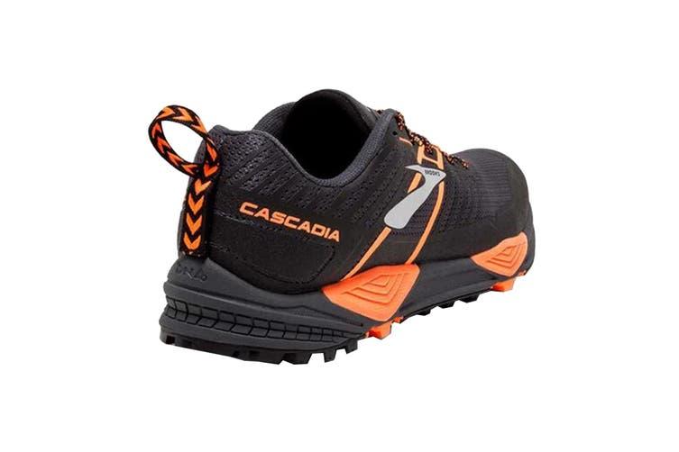 Brooks Men's Cascadia 13 Running Shoe (Grey/Black/Orange, Size 8.5 US)