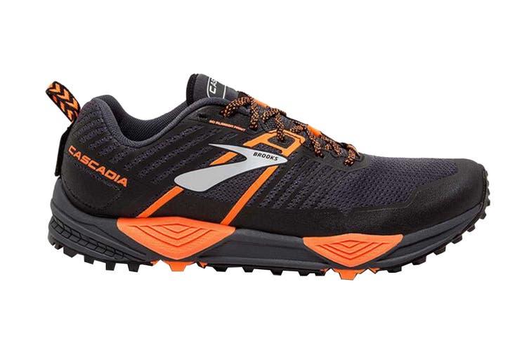 Brooks Men's Cascadia 13 Running Shoe (Grey/Black/Orange, Size 8 US)