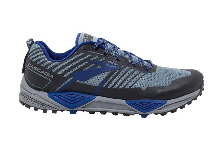 Brooks Men's Cascadia 13 Running Shoe (Grey/Blue/Ebony, Size 11.5 US)