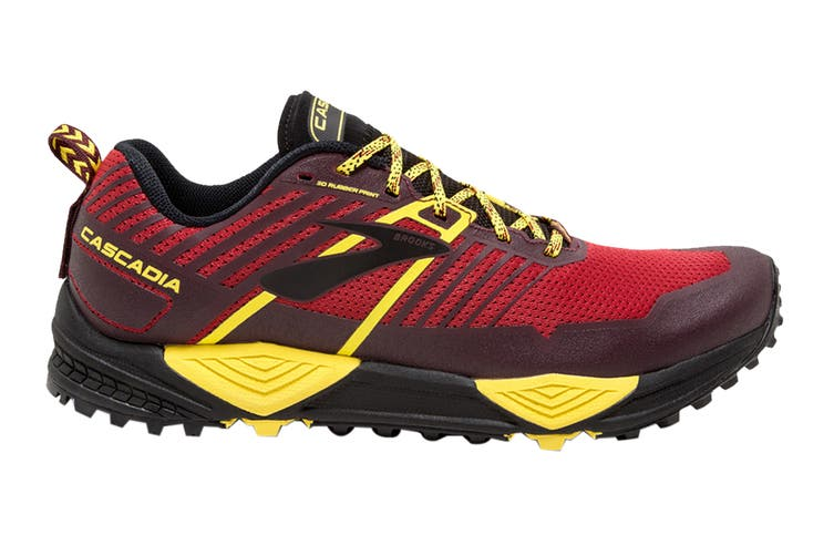 Brooks Men's Cascadia 13 Running Shoe (Red/Yellow/Black, Size 12 US)