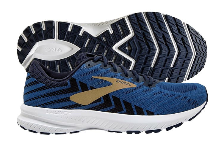 Brooks Men's Launch 6 Running Shoe (Peacoat/Blue/Gold, Size 7.5 US)