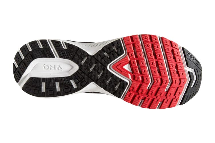 Brooks Men's Ravenna 10 Running Shoe (Ebony/Black/Red, Size 7 US)