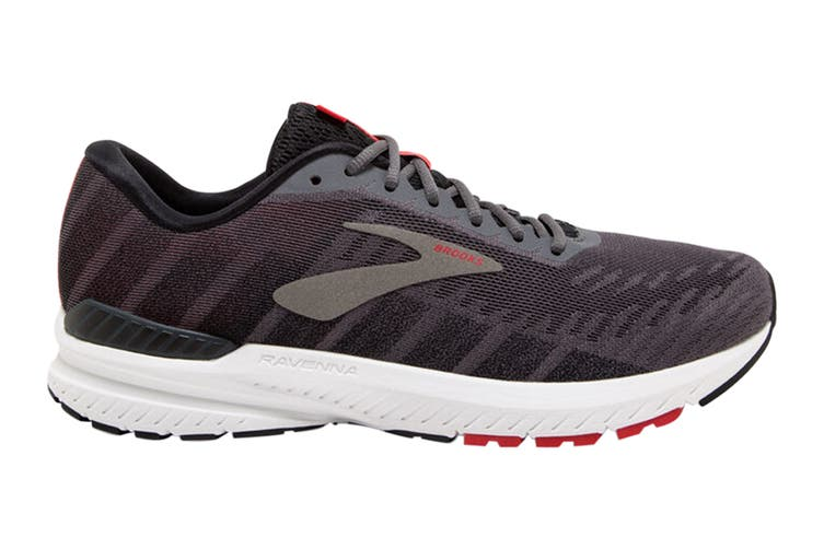 Brooks Men's Ravenna 10 Running Shoe (Ebony/Black/Red, Size 9.5 US)