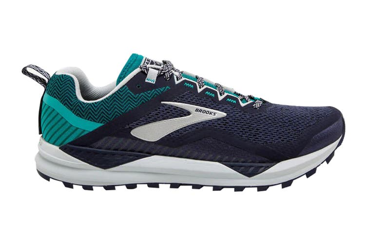 Brooks Men's Cascadia 14 Running Shoe (Navy/Blue Grass/Grey, Size 8.5 US)