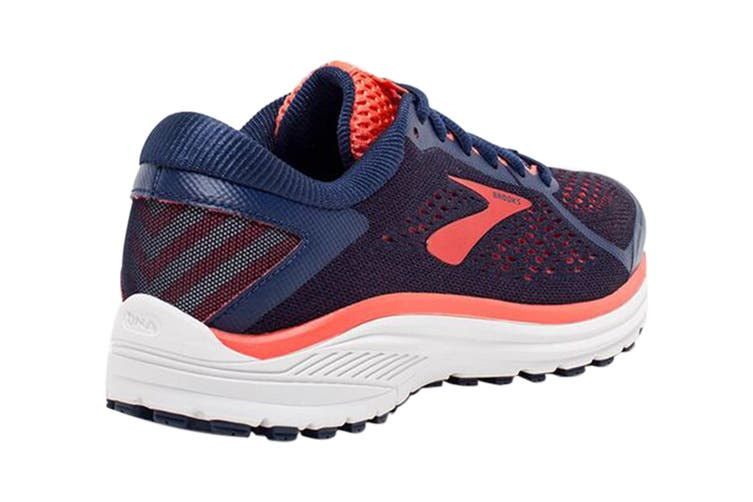 Brooks Women's Aduro 6 Running Shoe (Blue/Coral/White, Size 8 US)