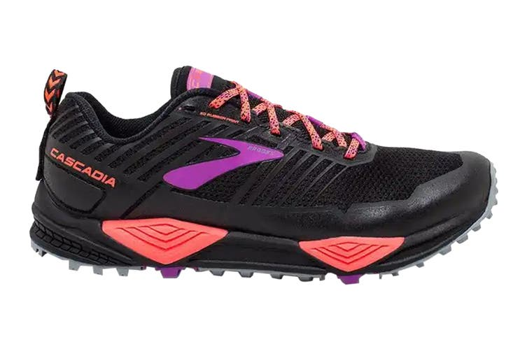 Brooks Women's Cascadia 13 Running Shoe (Black/Coral/Purple, Size 8 US)